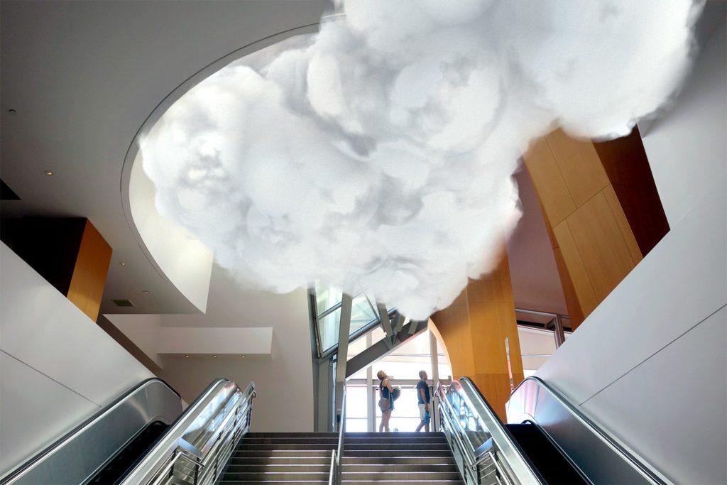 cloud above the escalators at Walt Disney Concert Hall