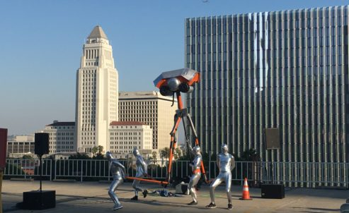 An alien at city hall. Photo by Elizabeth Cline.