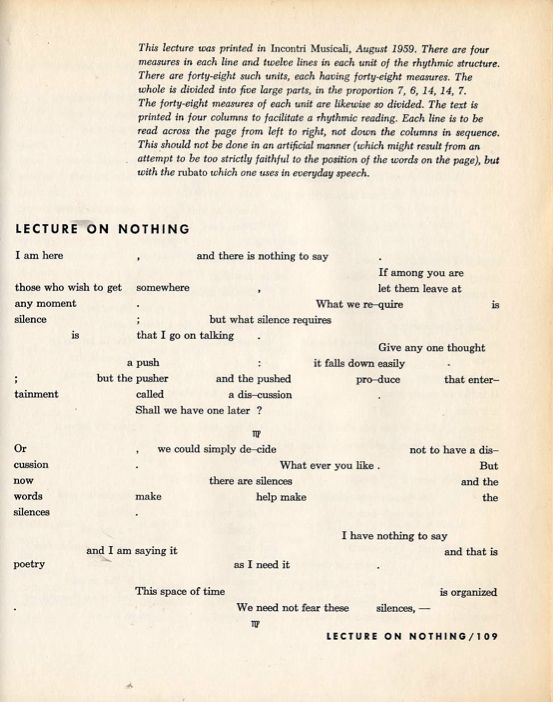 John Cage's Lecture on Nothing